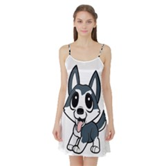 Pomsky Cartoon Satin Night Slip