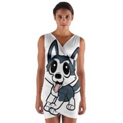 Pomsky Cartoon Wrap Front Bodycon Dress