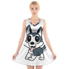 Pomsky Cartoon V-Neck Sleeveless Skater Dress