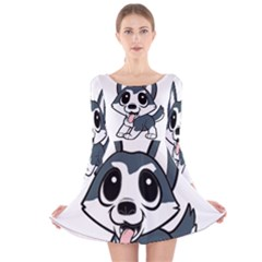 Pomsky Cartoon Long Sleeve Velvet Skater Dress