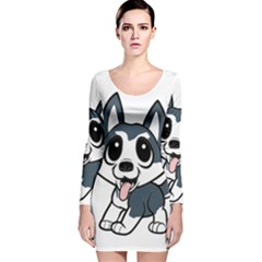 Pomsky Cartoon Long Sleeve Velvet Bodycon Dress
