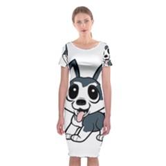 Pomsky Cartoon Classic Short Sleeve Midi Dress