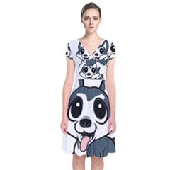 Pomsky Cartoon Short Sleeve Front Wrap Dress