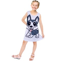 Pomsky Cartoon Kids  Tunic Dress