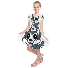 Pomsky Cartoon Kids  Short Sleeve Dress
