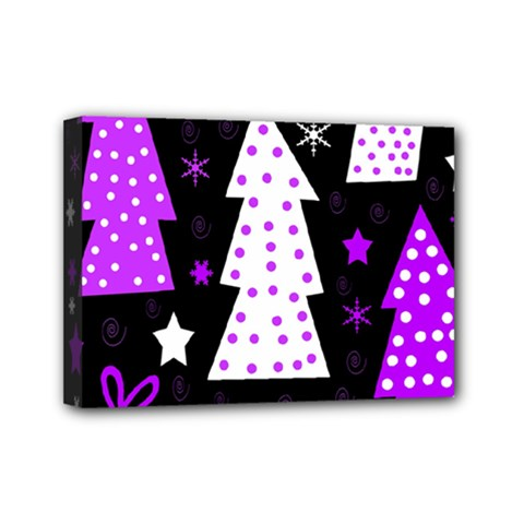 Purple Playful Xmas Mini Canvas 7  x 5
