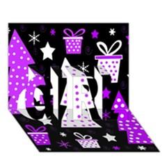 Purple Playful Xmas GIRL 3D Greeting Card (7x5)