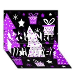 Purple Playful Xmas YOU ARE INVITED 3D Greeting Card (7x5)
