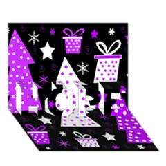 Purple Playful Xmas HOPE 3D Greeting Card (7x5)