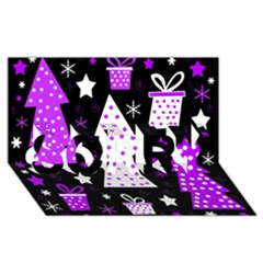 Purple Playful Xmas SORRY 3D Greeting Card (8x4)