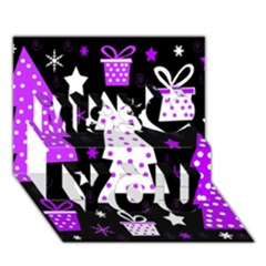Purple Playful Xmas Miss You 3D Greeting Card (7x5)