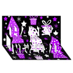 Purple Playful Xmas Happy New Year 3D Greeting Card (8x4)