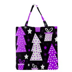 Purple Playful Xmas Grocery Tote Bag