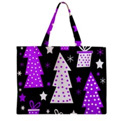 Purple Playful Xmas Zipper Mini Tote Bag