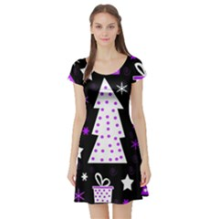 Purple Playful Xmas Short Sleeve Skater Dress
