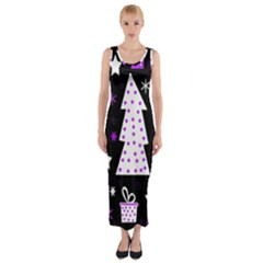 Purple Playful Xmas Fitted Maxi Dress