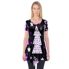 Purple Playful Xmas Short Sleeve Tunic
