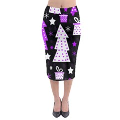 Purple Playful Xmas Midi Pencil Skirt