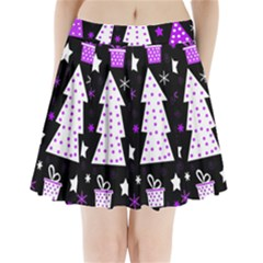 Purple Playful Xmas Pleated Mini Skirt