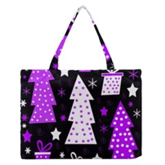Purple Playful Xmas Medium Zipper Tote Bag