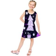 Purple Playful Xmas Kids  Tunic Dress
