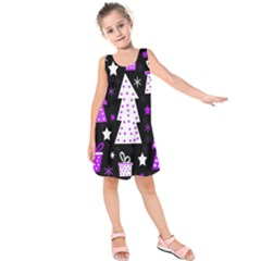 Purple Playful Xmas Kids  Sleeveless Dress