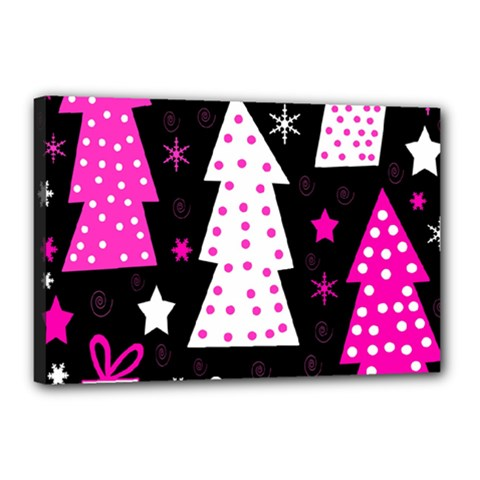 Pink playful Xmas Canvas 18  x 12