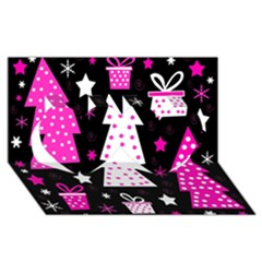 Pink playful Xmas Twin Hearts 3D Greeting Card (8x4)