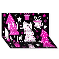 Pink playful Xmas Merry Xmas 3D Greeting Card (8x4)