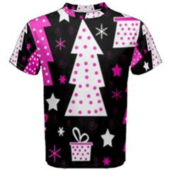 Pink playful Xmas Men s Cotton Tee