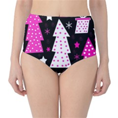 Pink playful Xmas High-Waist Bikini Bottoms