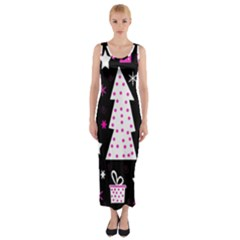 Pink playful Xmas Fitted Maxi Dress