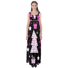 Pink playful Xmas Empire Waist Maxi Dress