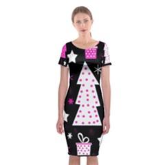 Pink playful Xmas Classic Short Sleeve Midi Dress