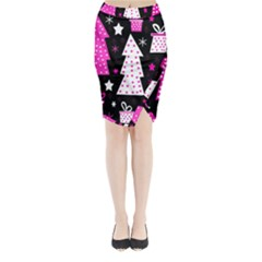 Pink playful Xmas Midi Wrap Pencil Skirt