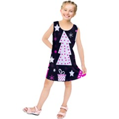 Pink playful Xmas Kids  Tunic Dress