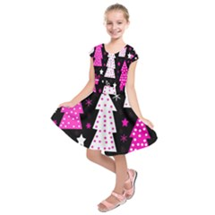 Pink playful Xmas Kids  Short Sleeve Dress