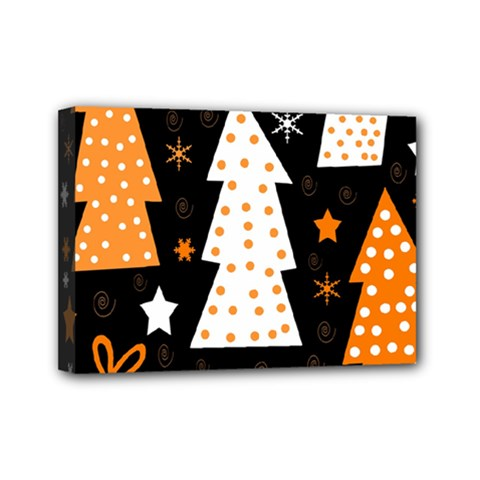 Orange playful Xmas Mini Canvas 7  x 5
