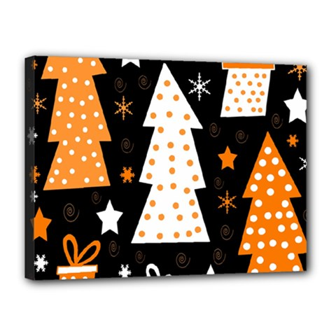 Orange playful Xmas Canvas 16  x 12