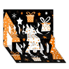 Orange playful Xmas Miss You 3D Greeting Card (7x5)