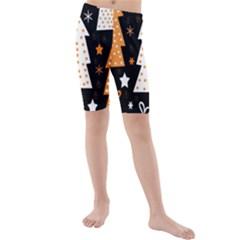 Orange playful Xmas Kids  Mid Length Swim Shorts