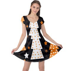 Orange playful Xmas Cap Sleeve Dresses