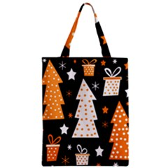 Orange playful Xmas Zipper Classic Tote Bag