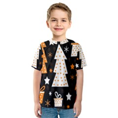 Orange playful Xmas Kids  Sport Mesh Tee