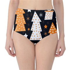 Orange playful Xmas High-Waist Bikini Bottoms