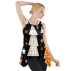 Orange playful Xmas Side Drop Tank Tunic