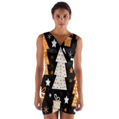 Orange playful Xmas Wrap Front Bodycon Dress