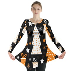 Orange playful Xmas Long Sleeve Tunic