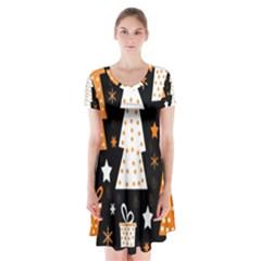 Orange playful Xmas Short Sleeve V-neck Flare Dress
