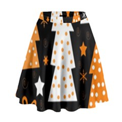 Orange playful Xmas High Waist Skirt